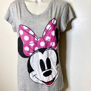 Disney Minnie Mouse Grey Pink Dots Now Tshirt XL